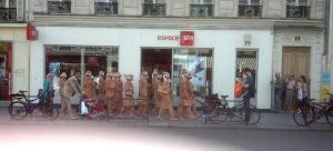 Guerilla advertising on Rue de Rivoli, Paris